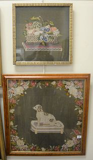 """Two Needlepoint Wall Hangings, one in tiger maple frame, one in gilt frame, 26 1/2"""" x 24"""" and 17 1/2"""" x 17""""."""