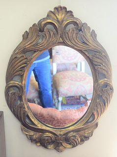 Pair of Continental Style Giltwood Mirrors, carved giltwood and gesso, heights 29 1/2 inches.