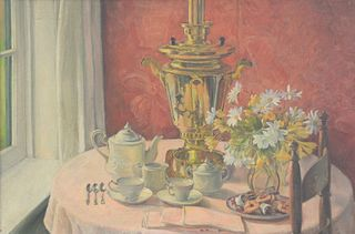 """Leila Sawyer (American, 1883 - 1977), still life with tea, oil on canvas, signed upper right: L. Sawyer, 24"""" x 36""""."""