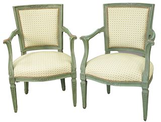 Set of Four Continental Style Armchairs, in green paint, height 35 inches.