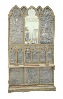 Gothic Hall Rack, having embossed brass and embossed pewter figures, King Arthur & Knights mounted with various colored glass beads and mirror center