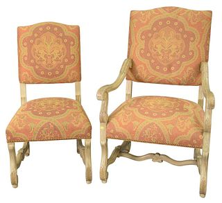 Set of Eight Continental Style Chairs, to include 2 arm, 6 side, with upholstered seats and backs.