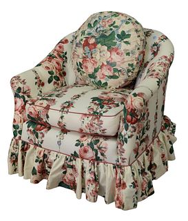 Two Piece Lot, to include custom upholstered swivel chair, along with custom upholstered wing chair, height 45 inches.
