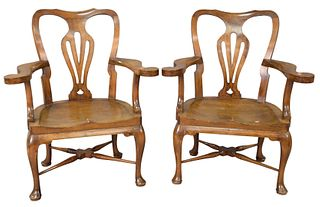 Pair of George II style Walnut armchairs on Cabriole legs ending in pad feet, height 37 inches, width 31 inches. Provenance: Christies, South Kensingt