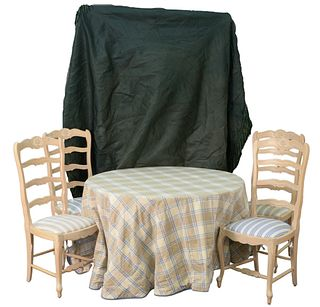 Six Piece Lot to Include, Table and Four French Style Chairs, plain table with custom cover, height 29 inch, diameter 48 inches.
