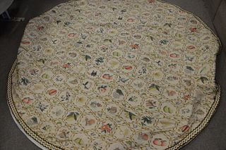 84 inch round custom tablecloth with fringe border.