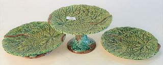 Sixteen Piece Lot of Majolica Porcelain, to include 11 leaf plates, diameter 9 1/2 inches; 3 serving low compotes; along with 2 tall compotes.