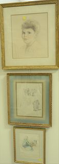 Six Piece Group of Framed Works on Paper, to include five watercolor and pencil sketches by Erica Von Kager; along with a pencil on paper of a young b