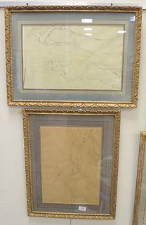 "Set of Six Gustav Klimt Prints of Figures, sight size 19"" x 12""."