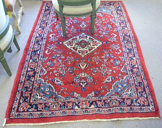 """Oriental Throw Rug, 4' 7"""" x 6' 9"""". Provenance: From the Robert Circiello Collection, West Hartford, Connecticut."""