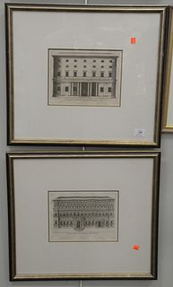 Eight Piece Group of Framed Works, to include six engravings of Italian Palaces, along with two watercolor and ink architectural drawings, each unsign