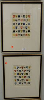 """Set of Four Engravings of Common English Coat of Arms, by Joseph Mutlow, published in 1808 by John Wilkes, sight size of each 10"""" x 7 1/2""""."""