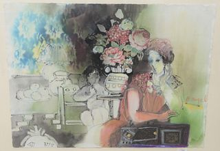 """Batia Magal (Israeli, b. 1953), interior scene with mother and child, mixed media on paper, signed center right 'B. Magal', sheet 22"""" x 30""""."""