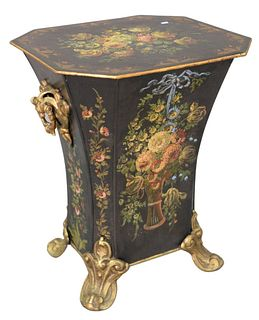 """Large Tole Coal Hod, having gilt and paint decoration, scroll handles and feet, height 26 inches, top 20"""" x 22""""."""