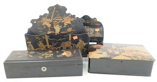 Four Piece Lot of Japanese Boxes, to include a papier mache painted letter box, with dome lid; one long box with small metal bronze inset tokens on th
