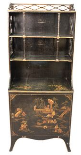Chinoiserie Decorated Bookcase, open top and door in base, height 54 inches, width 22 1/4 inches.