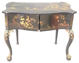 Dutch Louis XV Style Gold and Black Japanned Server, painted with chinoiserie scenes, slightly bombe shaped case with 2 doors opening to 3 fitted draw