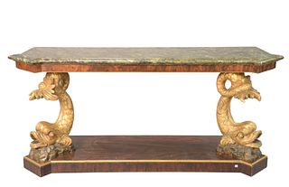 Pier Table, having shaped faux marble top over dolphin supports, set on burlwood base, height 34 inches, length 76 inches, depth 24 inches.