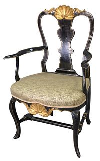 Queen Anne Armchair, with shell carved crest rail over vasiform back, over upholstered seat with shell carved front skirt, raised on cabriole legs wit