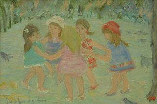 """Jocelyne Seguin (French, 1921 - 1999), Le Ronde, oil on canvas, signed lower left 'Jocelyne Seguin', 9 1/2"""" x 14"""". Provenance: Wally Findlay Galleries"""