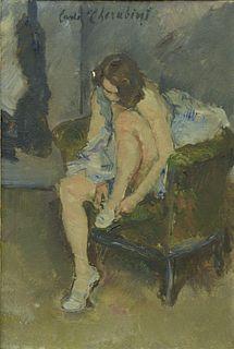 """Carlo Cherubini (Italian, 1890 - 1978), Dressing, oil on canvas, signed upper center 'Carlo Cherubini', 14"""" x 9 1/2""""."""