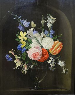 """Frederick Victor Bailey (1919 - 1997), oil on board, still life vase of flowers, initialed lower left 'FVB', in wood frame, 17"""" x 13 1/2""""."""
