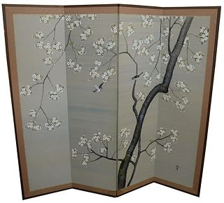 Three Piece Group, to include two carved detail mirrors, along with one Japanese painted silk screen, height 64 1/2 inches, width 72 inches.