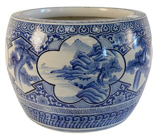 Large Chinese blue and white porcelain planter, height 12-1/2 inches, diameter 16 inches.