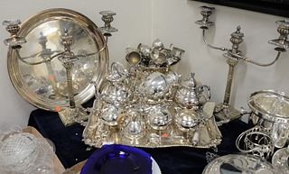 Group of Silverplate, to include tea set, Sheffield candelabra, punch bowl with cups, trays, etc.