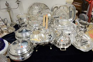 Large Group of Silver Plate to include two ice buckets, large trays, pitcher, serving pieces, tureens, etc.