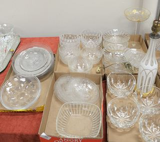Five Tray Lots of Assorted Crystal, to include 4 crystal wine rinse bowls; 4 crystal bowls; set of 3 etched glass plates; set of 6 etched glass plates