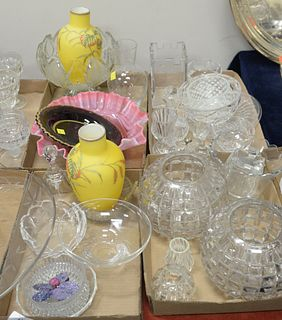 Five Tray Lots of Crystal and Glass, to include Val Saint Lambert; Rosenthal cut glass; a pink glass flowered bowl; along with a pair of case glass ye