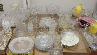 Six Tray Lots of Pressed Glass, to include depression glass; compotes; vases; plates; along with cups, etc.