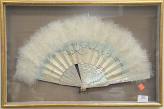 Ostrich Feather Fan, having mother of pearl, with painted scene in shadow box frame, width 20 inches.