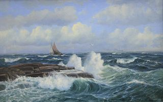 Conrad Selmyhr (Norwegian, 1877 - 1944), seascape, Marstrand, 1904, oil on canvas, signed, dated and inscribed: Conrad Selmyhr, Marstrand, 1904, 25 1/