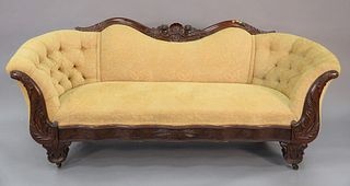 Empire Mahogany Carved Sofa, with custom upholstery, circa 1840, height 34 1/2 inches, length 83 inches. Provenance: Matthes-Theriault Collection, Woo