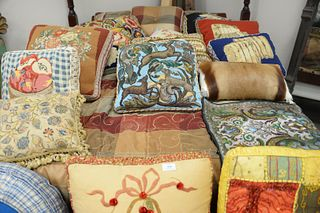 Sixteen Piece Lot of Pillows, to include beadwork, needlework, and beaded panel.