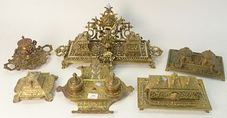 Group of Six Brass Inkwell Desk Sets, largest height 9 inches, length 21 inches.