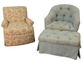 Two Custom Upholstered Club Chairs, to include one tufted barrel back with ottoman; along with one in floral upholstery, height 32 inches, width 33 in