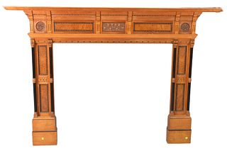 Victorian Satinwood and Burl Walnut Fire Mantle, with ebony and marquetry, circa 1890, height 54 inches, width 75 inches, opening height 40 inches, op