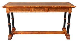 Linley Custom Console Table, with inlaid burr ash and ebony frieze, with three panels and ebonized diamonds, all set on ebonized columns, set on plain