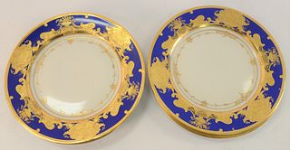 Set of Six Dresden Service Plates, with high-relief gold and cobalt blue border, marked Rosenthal Dresden Saxony, diameter 10 1/4 inches.