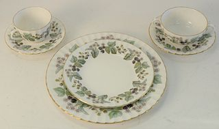 "Royal Worcester ""Lavinia"" Set of China, one hundred and twenty four pieces to include 16 dinner plates, 16 briar bouillon cups, 16 saucers, 16 cups, 1"