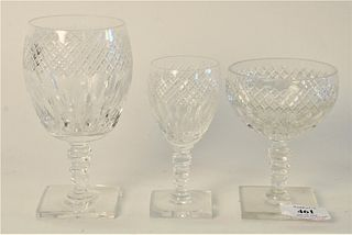 "Set of Hawkes Cut Crystal Stems, 57 pieces, along with tall stems; 64 total pieces, heights 6 1/4"", 4 3/4"" and 5""."