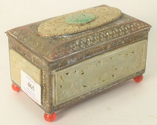 Chinese embossed copper box with jade and hardstone plaques, height 3 inches, width 5-1/4 inches, depth 3 inches.