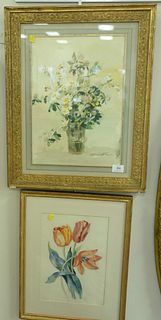 "Two Piece Group, to include Erika Von Kager (1890 - 1975), watercolor, still life daisies, signed lower left 'E Kager' matted in gilt frame, 16 1/4"" x"
