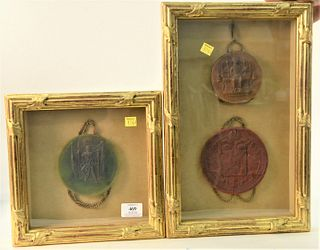 Two Piece Framed Lot of Three Large Royal Wax Seals, to include seals from Napoleon I, 1804; King Edward III, 1340; and the widow seal of Empress Mari