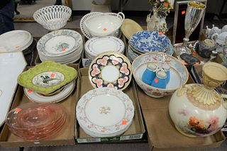 Six Tray Lots of Various Porcelain Plates and Platters, to include pink glass plates; a white gold rimmed fish platter; a reticulated compote; blue co