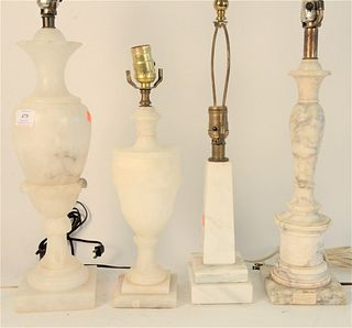Four Table Lamps, to include 2 alabaster, along with 2 marble, tallest total height 33 inches.