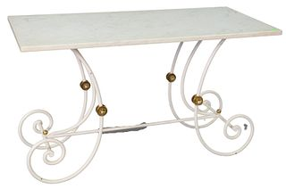 """Marble Top Table, on scrolled iron base, height 28 inches, top 24"""" x 48""""."""